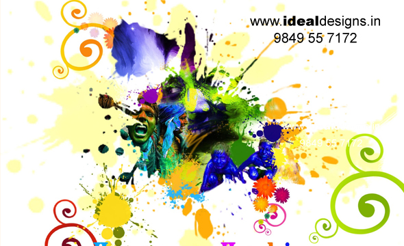Logo design hyderabad, logo designer hyderabad, Happy Holi greetings - ideal designs