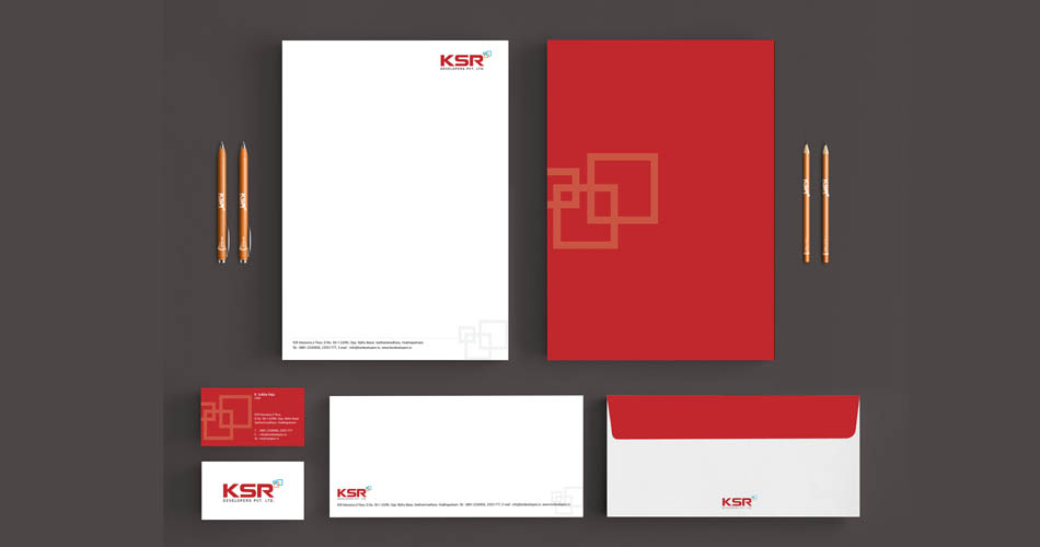 real estate logo and stationery design vizag - KSR developers - www.idealdesigns.in