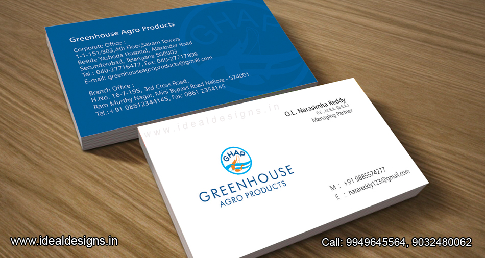 agro products company logo & stationery design india, the best business cards deign from india -Green House