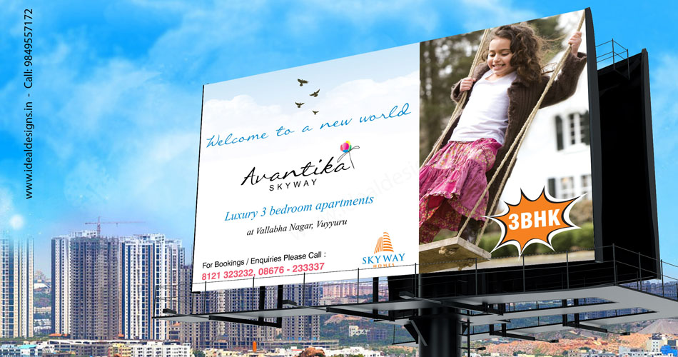 real estate hoardings, school hoarding design hyderabad, hyderabad hoarding designers